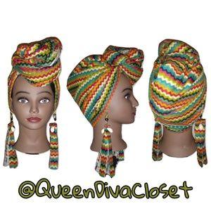 African Zig zag chevron rasta headwrap earring set